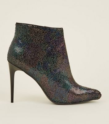 Rainbow Camoflauge Sequin Pointed Heel Boots