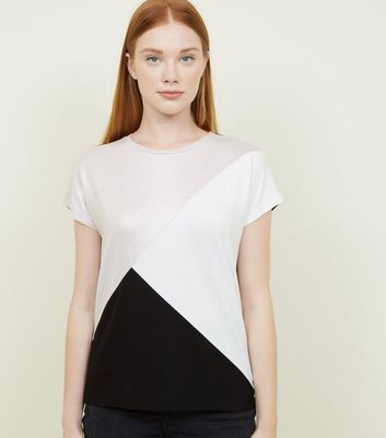 Black Metallic Colour Block Top