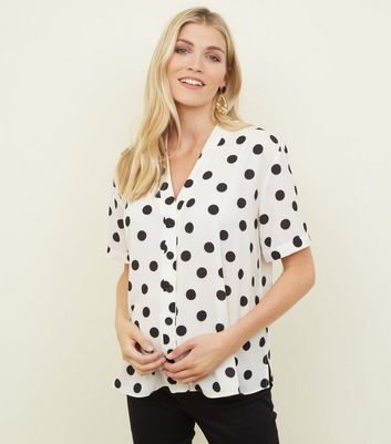 Maternity White Spot Print Button Front Shirt