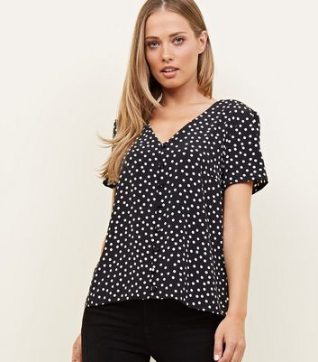 Black Spot Print Button Front Top