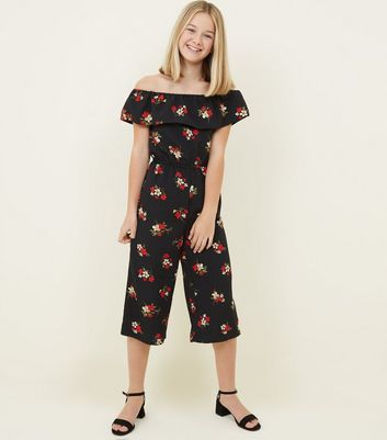 Girls Black Floral Frill Bandeau Jumpsuit