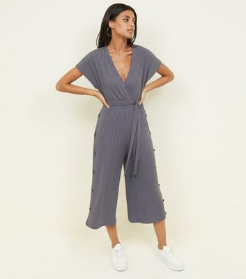 Grey Popper Side Ribbed Wrap Jumpsuit by New Look