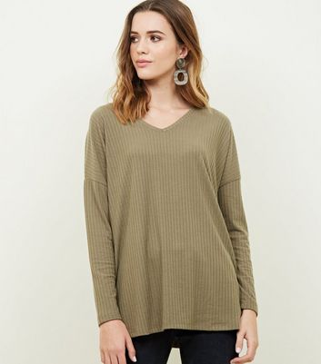Khaki Ribbed Brushed Jersey Top