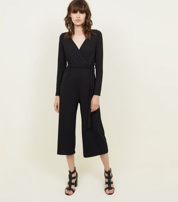 Black Ribbed Long Sleeve Wrap Jumpsuit by New Look