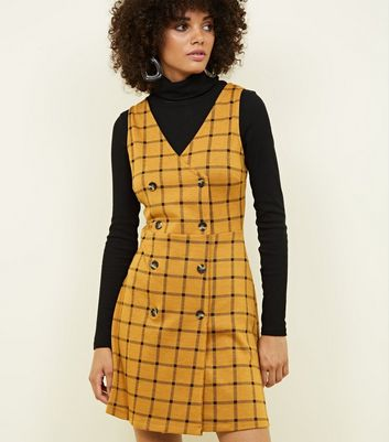 Yellow Check Double Breasted Button Front Dress