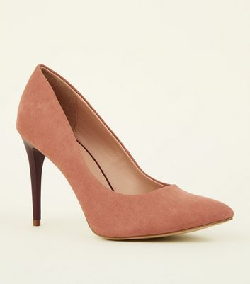 Pink Suedette Two Tone Stiletto Courts by New Look