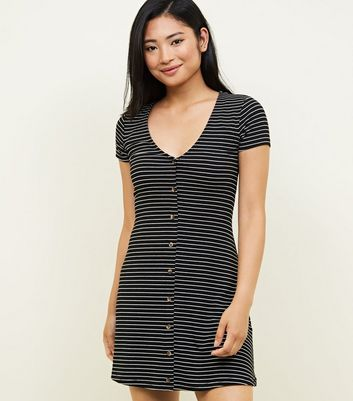 Petite Black Stripe Button Front Tea Dress