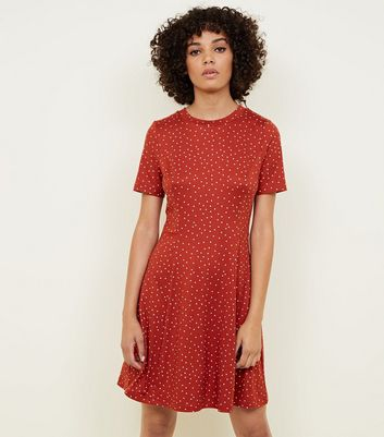 Rust Spot Print Tea Dress