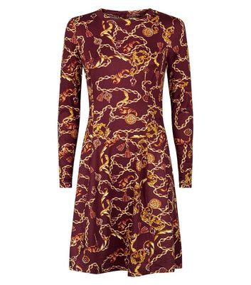 Red Chain Print Long Sleeve Tea Dress