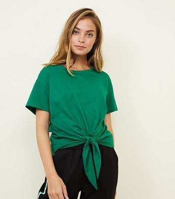 Petite Green Short Sleeve Tie Front T-Shirt