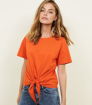 Petite Orange Short Sleeve Tie Front T-Shirt