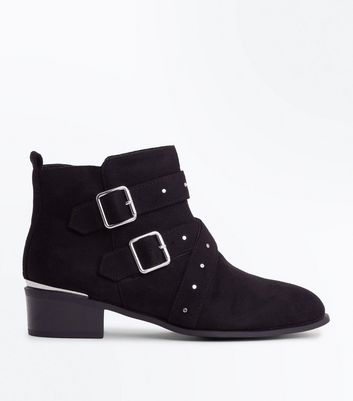 Wide Fit Black Suedette Stud Strap Ankle Boots by New Look