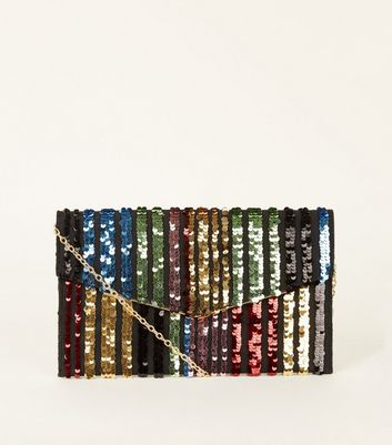 Multicoloured Rainbow Stripe Sequin Clutch