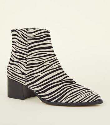 Black Zebra Print Leather Ankle Boots