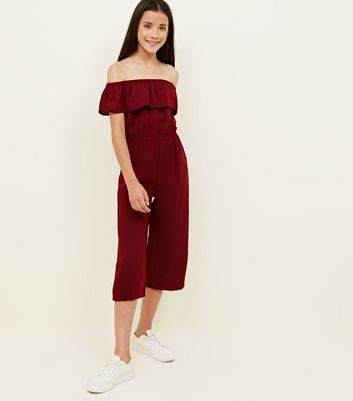Girls Burgundy Frill Bardot Jumpsuit