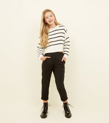 Girls Black Tapered Trousers