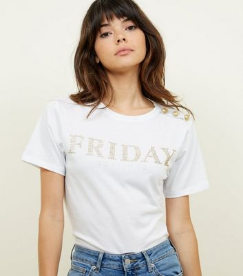 White Friday Slogan Button Shoulder T-Shirt