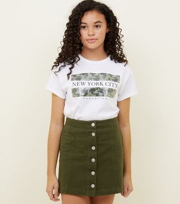 Girls Khaki Denim Button Front Skirt