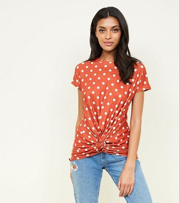 Orange Polka Dot Twist Front Top