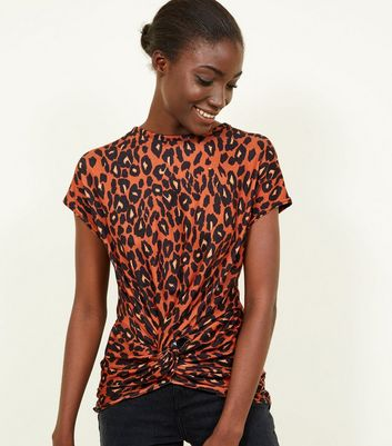 Orange Leopard Print Twist Front Top