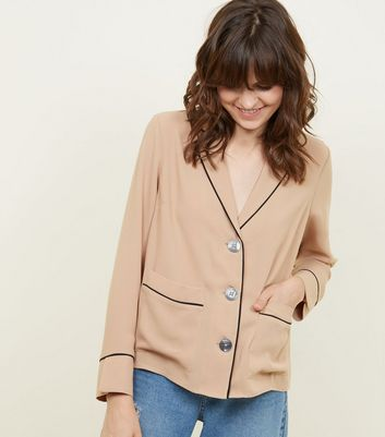 Camel Piped Edge Pyjama-Style Shirt