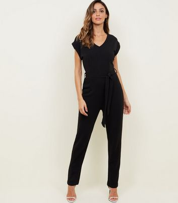 Mela Black V-Neck Cap Sleeve Jumpsuit