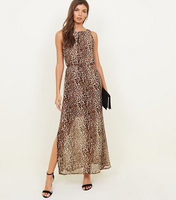 Mela Brown Leopard Print Maxi Dress