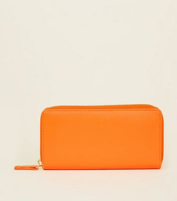 Bright Orange Zip Around Purse by New Look