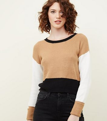 Brown Colour Block Turned Cuff Ribbed Jumper