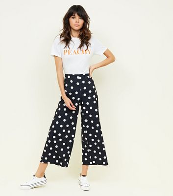 Black Polka Dot Scuba Crop Trousers