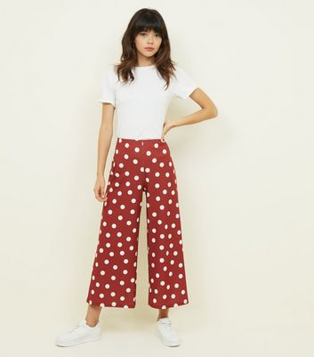 Rust Polka Dot Scuba Crop Trousers