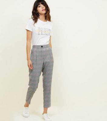 Black Check Tapered Pull On Trousers