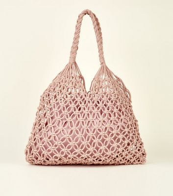 Mid Pink Crochet Tote Bag