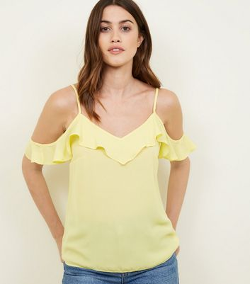 Apricot Yellow Frill Trim Cold Shoulder Top