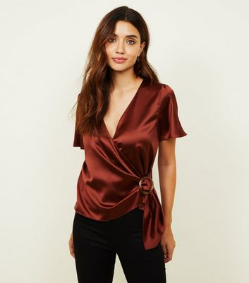 Rust Satin Circle Buckle Wrap Top