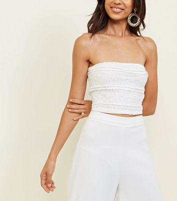 White Lace Frill Party Bandeau