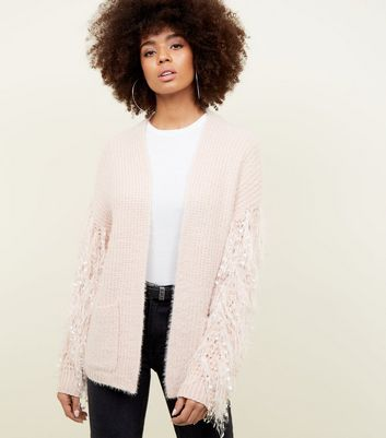 Pale Pink Fringe Sleeve Fluffy Cardigan