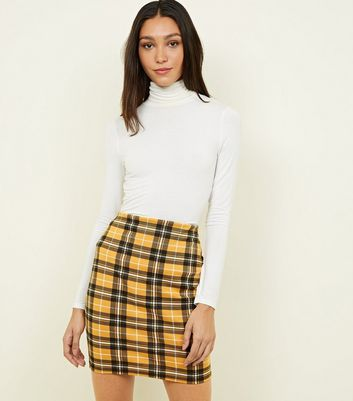 Tall Mustard Check Tube Skirt