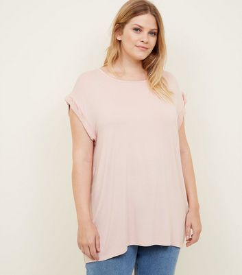 Curves Pale Pink Rolled Sleeve T-Shirt
