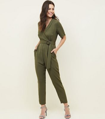 Khaki Collared Herrinbone Wrap Front Jumpsuit by New Look