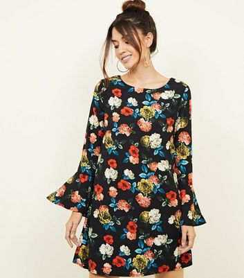Mela Black Floral Bell Sleeve Tunic Dress