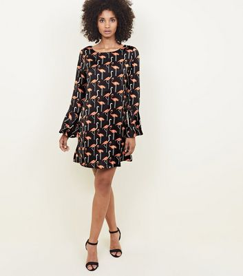 Mela Black Flamingo Tunic Dress