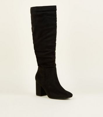 Wide Fit Black Suedette Ruched Block Heel Boots by New Look