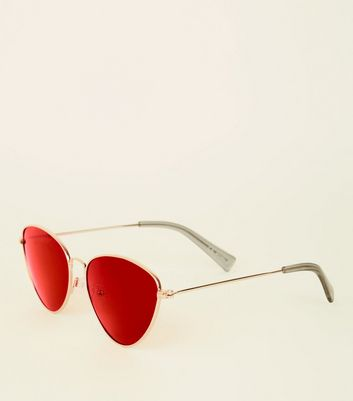 Red Lens Cat Eye Sunglasses by New Look