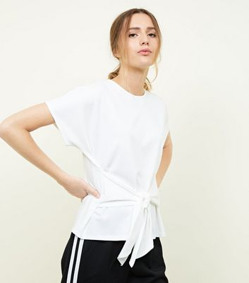 Cream Ribbed Tie Waist T-Shirt