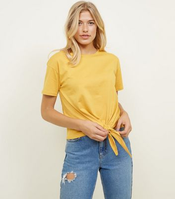 Mustard Tie Through Front T-Shirt