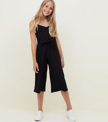 Girls Black Ribbed Tie Front Jumpsuit