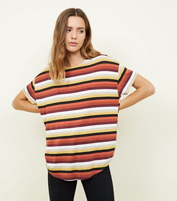 Black Stripe Print Loose Fit T-Shirt