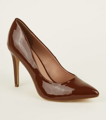 Mid Brown Patent Stiletto Heel Pointed Courts