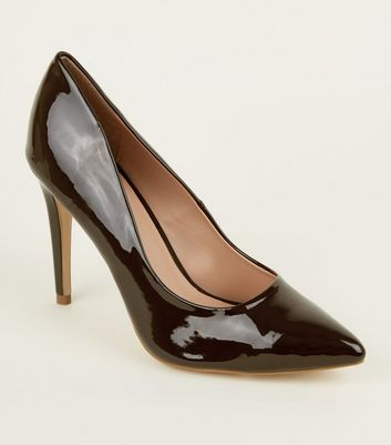 Dark Brown Patent Stiletto Heel Pointed Courts